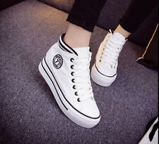Women's Korean High-top Lace-up Platform Casual Canvas Sneakers Ladies Shoes