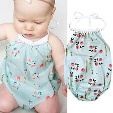 Baby Girls Floral Romper Jumpsuit Bodysuit Backless Sunsuit Outfits One-pieces