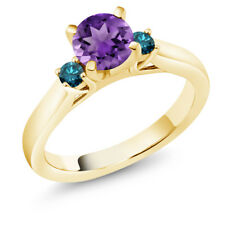 0.90 Ct Purple Amethyst Blue Diamond 18K Yellow Gold Plated Silver 3-Stone Ring