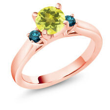 1.20 Ct Round Canary Mystic Topaz Blue Diamond 14K Rose Gold 3-Stone Ring