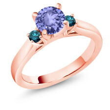 1.10 Ct Round Blue Tanzanite Blue Diamond 14K Rose Gold Ring