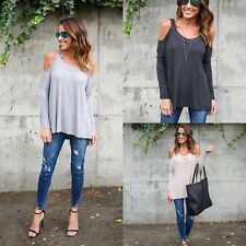 Sexy Women Long Sleeve Off Shoulder Casual Loose Tops T-Shirt Fashion Blouse
