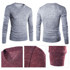 Men Casual Slim Fit V-neck Knitted Cardigan Pullover Jumper Sweater Tops