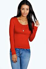 Boohoo Womens Nancy Round Neck Long Sleeve Top