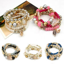 4Pcs Trendy Multilayer Faux Crystal Bead Elastic Bracelet Bangle Women Jewelry