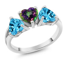 2.85 Ct Heart Shape Green Mystic Topaz Swiss Blue Topaz 18K White Gold Ring
