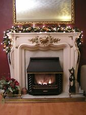 Pre-Lit Fireplace Christmas Garland Gold Holly 6ft With 40 Warm Lights Snowman