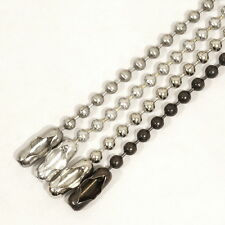 """Lot of 5 Military Style 24"""" Ball Chain Necklaces, Made in USA - 2.4mm Bead"""