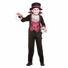 Boys Victorian Vampire Fancy Dress Up Party Horror Role Play Costume Outfit New