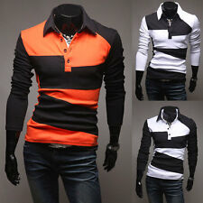 Men's Luxury Button Front Long Sleeve Slim Fit Casual Polo Shirt T-Shirt The New