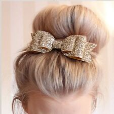 3Color Womens Hairpin Bowknot Barrette Hair Clip Leather Large Size Charm Gifts