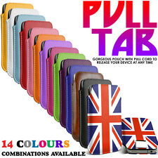 Pull Tab Slide In Flip Up Phone Case Cover Pouch Sleeve fits HTC One m9