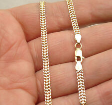 Solid Bizmark Bismark Double Curb Chain Bracelet Real 10K Yellow White Gold