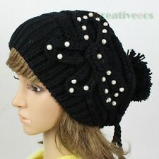 Stylish Fashion 3D Flower Pearl Ski Cap Wool Knit Winter Hat Big Pom-pom Beanies