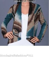 Teal/Brown Retro Dye Shrug/Cover-Up Drape Scarf Tunic Cardigan S
