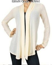 Ivory Ribbed Long Sleeve Shrug/Cover-Up Drape Scarf Tunic Cardigan  L #BB-IR