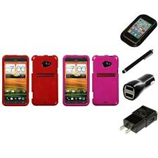 For HTC EVO 4G LTE Rigid Plastic Hard Snap-On Case Phone Cover Charger Stylus