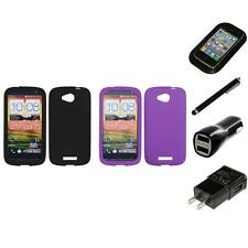 For HTC One VX Silicone Skin Rubber Soft Case Phone Cover Charger Stylus