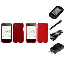 For LG Google Nexus 4 Rigid Plastic Hard Snap-On Case Phone Cover Charger Stylus