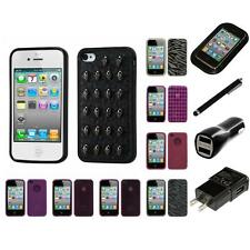 For Apple iPhone 4/4S TPU Rubber Skin Flexible Case Phone Cover Charger Stylus