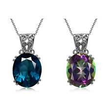 "12*10MM Gemstone 925 Sterling Silver Filigree Pendant with 18"" Chain Necklace"