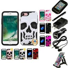 For Apple iPhone 7 [4.7] Hybrid Skull Skeleton Impact Hard Soft Case Accessories