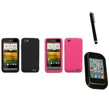 For HTC One V Silicone Skin Rubber Soft Case Phone Cover Mount+Pen