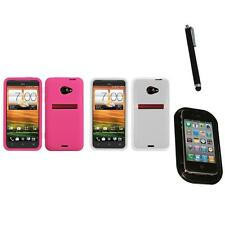 For HTC EVO 4G LTE Silicone Skin Rubber Soft Case Phone Cover Mount+Pen