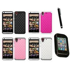 For HTC Desire 626 Rhinestone Rugged Armor Bling Case Phone Cover Mount+Pen