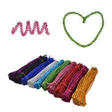 100x Coloured Glitter Chenille Stems Pipe Sticks Cleaners For Art DIY Craft