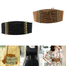 Women Elastic Buckle Wide Waistband Retro Lady Corset Stretch Waist Belt Fashion