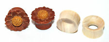 2 Pairs Organic Flower Wood Hand Carved Ear Plugs Tunnels Gauges 0g 00g 1/2 5/8