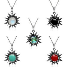 925 Sterling Silver Cabochon Gemstone Sun Pendant w/18 inch Chain Necklace