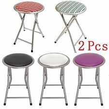 2Pcs Round Folding Breakfast Bar Stool Kitchen Office Padded High Chair Seat New