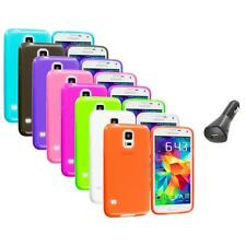 For Samsung Galaxy S5 SV TPU Transparent Color Soft Case Cover+Car Charger