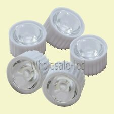 10-100pcs Lens 10° 30° 60° 90° 120° Degree for 1W 3W Watt Led Lamp+ White Holder