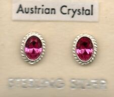 ., new real sterling silver 925 round oval stud earrings pink stones