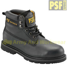 PSF OUTBACK Mens Safety Black Leather Work Boots Shoes Steel Toe Cap & Midsole