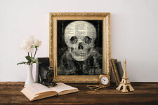 MACABRE SKULL LOVE Valentine's Day OPTICAL ILLUSION Dictionary Art Print Poster