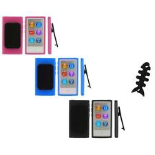 Color TPU Rubber Case Cover Belt Clip+Cable Wrap for iPod Nano 7th Gen 7 7G
