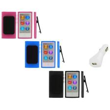 Color TPU Rubber Case Cover Belt Clip+White Charger for iPod Nano 7th Gen 7 7G