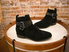 Marc Fisher Black Suede Charlie Ankle Strap Boots NEW