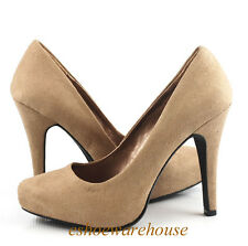 Mid Taupe Faux Suede Awesome Sexy Must Have Almond Toe Hidden Platform Pumps