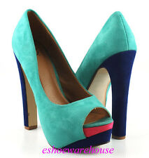 Teal Faux Suede Multi Colorblock Hidden Platform Open Toe Awesome Sexy Pumps