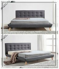 New Double/Queen/King Grey Linen Upholstered Bed Frame & Button Tufted Bed Head