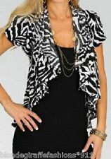 Black/White Zebra Stripe Cropped Drape Bolero/Shrug/Cardigan S