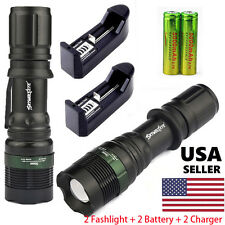 2 Sets 10000LM Tactical LED Flashlight Torch Zoomable 18650 Battery Charger LOT