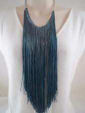 Guess silver tone~blue fringe & chain long necklace, NWT