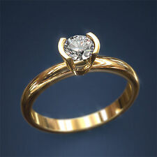 0.69 CT Certified Diamond Engagement Ring 14k Yellow Gold Round D SI1 Enhanced