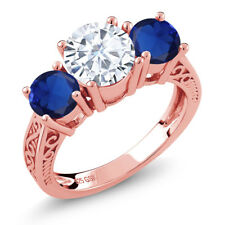 2.30 Ct Created Moissanite Simulated Sapphire 18K Rose Gold Plated Silver Ring